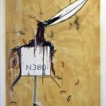 """Zorn und Oben"" 2011, oil, potato print on paper, collaboration with Lukas Dürr, 95 x 150 cm"