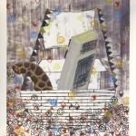 """untitled"" 2011, oil, potato print on paper, collaboration with Lukas Dürr, 95 x 150 cm"